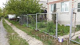 Забор из сетки рабицы секционный