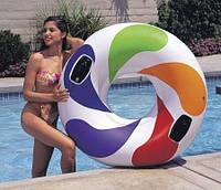 """Надувной круг с ручками """"Вихрь цвета"""" Intex 58202 122см, надувной круг для плавания Интекс"""