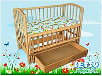 """Кроватка детская """"Малютка с поперечным маятником + ящик"""""""
