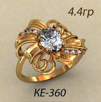 Модное золотое женское кольцо 585 пробы