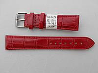 Кожаный ремешок Nagata, цвет красный, застежка золотистая, фото 1