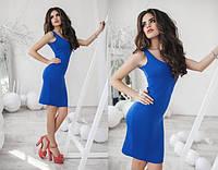 Элегантное синее платье трикотажный стрейч. Арт-5489/48