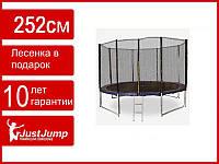 Батут детский Just Jump 252 см, сетка, лестница (двойные ножки)