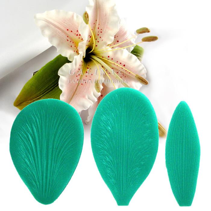 Вайнер форма молд для отпечатка текстуры лепестки и лист, 3 шт.,платиновый силикон