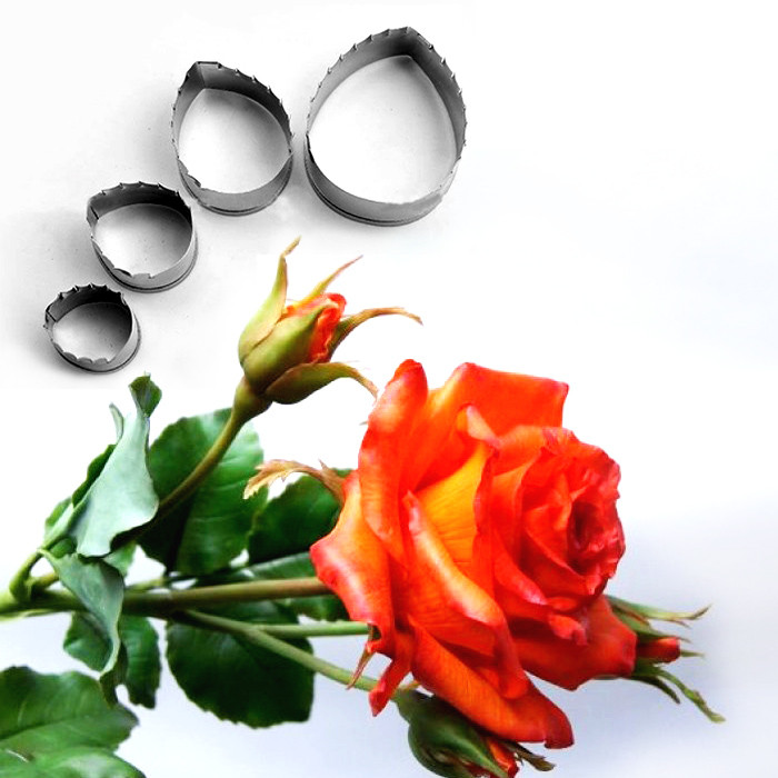 Каттер натуралистичный лист розы, металл набор 4шт.