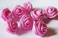 Головы розочки розовые с блеском 3.5-4см