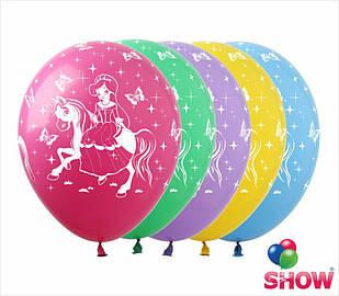 """Латексные воздушные шары с рисунком """"Принцесса"""", диаметр 12 дюймов (30 см), печать шелкография 5 сторон,100шт"""