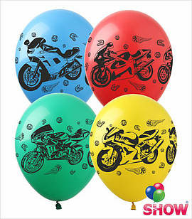 """Латексные воздушные шары с рисунком """"Мотоциклы"""", диаметр 12 дюймов (30 см), печать шелкография 4 стороны,100шт"""