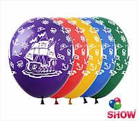 """Латексные воздушные шары с рисунком """"Пиратский корабль"""", диаметр 12 дюймов (30 см), шелкография 5 сторон, 50шт"""