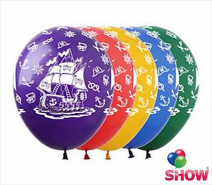 """Латексные воздушные шары с рисунком """"Пиратский корабль"""", диаметр 12 дюймов (30 см), шелкография 5 сторон,100шт"""