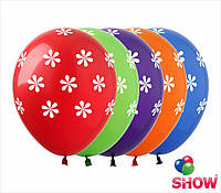 """Латексные воздушные шары с рисунком """"Васильки-горошек"""", диаметр 12 дюймов (30 см), шелкография 5 сторон,100 шт"""