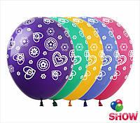 """Латексные воздушные шары с рисунком """"Цветочный орнамент"""", диаметр 12 дюймов (30 см),шелкография 5 сторон, 50шт"""
