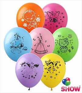 """Латексні повітряні кулі з малюнком """"Мультяшки група-4"""",діаметр 12 дюймів(30 див),шовкографія 1 сторона,100шт"""