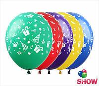 """Латексные воздушные шары с рисунком """"Праздник"""", диаметр 12 дюймов (30 см.), печать шелкография 5 сторон, 50 шт"""