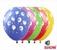 """Латексные воздушные шары с рисунком """"Шарики"""", диаметр 12 дюймов (30 см.), печать шелкография 5 сторон, 100 шт"""