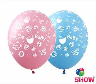 """Латексні повітряні кулі з малюнком """"Baby Birthday"""",діаметр 12 дюймів(30 см),друк, шовкографія 5 сторін,100шт"""