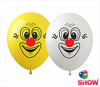 """Латексные воздушные шары с рисунком """"Клоун два цвета"""", диаметр 12 дюймов (30 см) шелкография 1 сторона, 50 шт"""