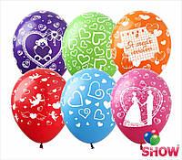 """Латексные воздушные шары с рисунком """"Микс """"Любовь & Свадьба"""""""", диаметр 12 дюймов(30 см) шелкография 5 ст, 50шт"""