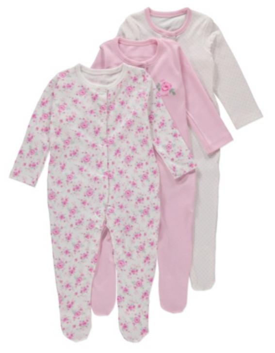 Человечки для новорожденных Девочки 9-12 мес. Набор 3 шт George (Англия)