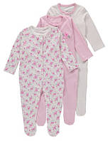 Человечки для новорожденных Девочки 9-12 мес. Набор 3 шт George (Англия), фото 1