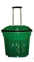 Корзина покупательская пластиковая на колёсах с выдвижной ручкой объёмом 40 литров, зелёного цвета