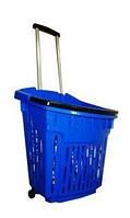 Корзина покупательская пластиковая на колёсах с выдвижной ручкой объёмом 40 литров, синего цвета