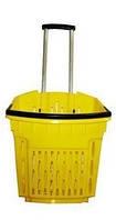 Корзина покупательская пластиковая на колёсах с выдвижной ручкой объёмом 40 литров, жёлтого цвета