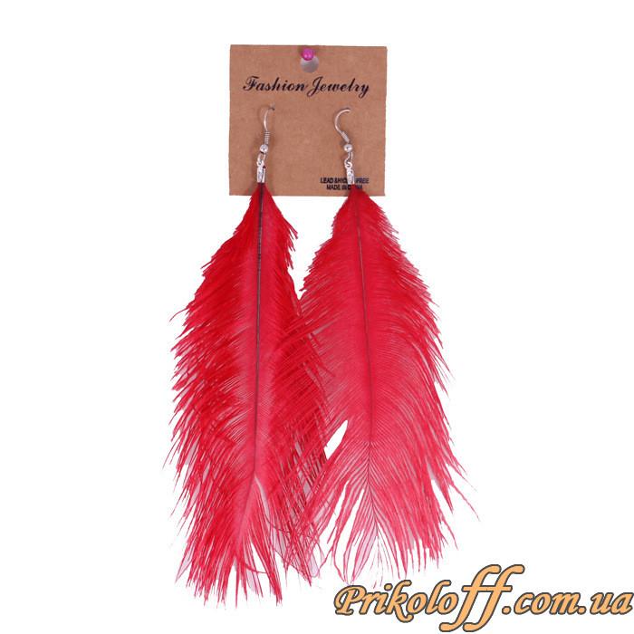 Серьги из птичьих перьев, красные