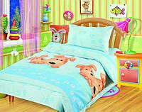Постельное белье для детей в детскую кроватку Непоседа Собачки голубые