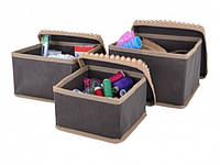 Набор коробок из 3 шт. для хранения мелочей коричневые