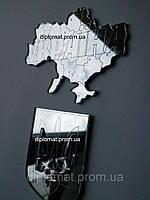Магнит зеркальный на холодильник герб и карта Украины