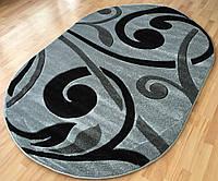 Овальные ковры на пол 2*3 серо-черных тонов