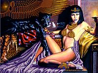 Схема для вышивания бисером Клеопатра и пантера КМР 3177