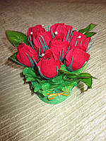 """Букет из 9ти красных бутонов роз с конфетами """"Трюфель молочный"""""""