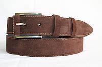 Замшевый ремень на джинсы и брюки 40 мм коричневый цвет кожаная вставка на пряжке