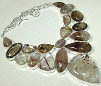 Колье, ожерелье из натурального РУТИЛОВОГО КВАРЦА (ВОЛОСАТИКА)