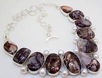 Колье, ожерелье из натуральной ЯШМЫ И ЖЕМЧУГА