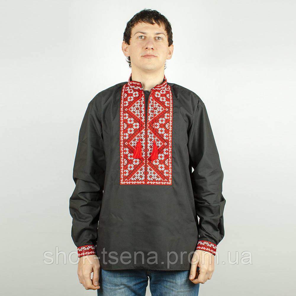 Чорна сорочка вишиванка чоловіча з червоною вишивкою  продажа 4282f6ffb5f4c