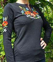 Женская вышиванка мак-ромашка-колосок