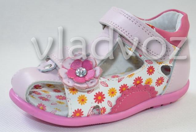 Детские босоножки сандалии для девочки розовые кожа 22р. Calorie