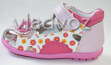 Детские босоножки сандалии для девочки розовые кожа 22р. Calorie, фото 3