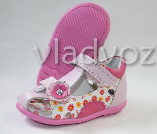 Босоножки сандалии для девочки розовые Kellaifeng натуральная кожа