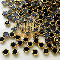 Стразы в металлической оправе Металл-Золото Стразы Jet.4мм.цена за 50 шт