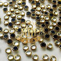Стразы в металлической оправе Металл-Золото Упаковка 50шт.Размер 4мм