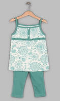 Трикотажный летний комплект для девочки размер 134-140 Фламинго