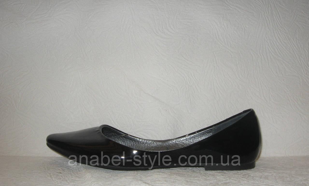Балетки стильные женские натуральная кожа лаковые черного цвета