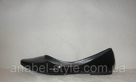 Балетки стильные женские натуральная кожа лаковые черного цвета, фото 2