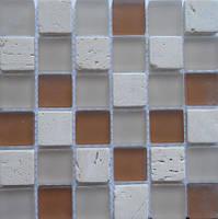 Мозаика из натурального камня бежевая с коричневым Vivacer CS11