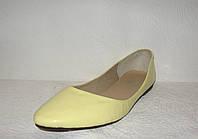 Балетки стильные женские лаковые желтого цвета