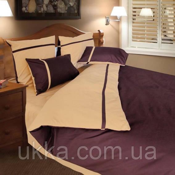 Евро Двуспальное постельное белье ТЕП Дует коричневый